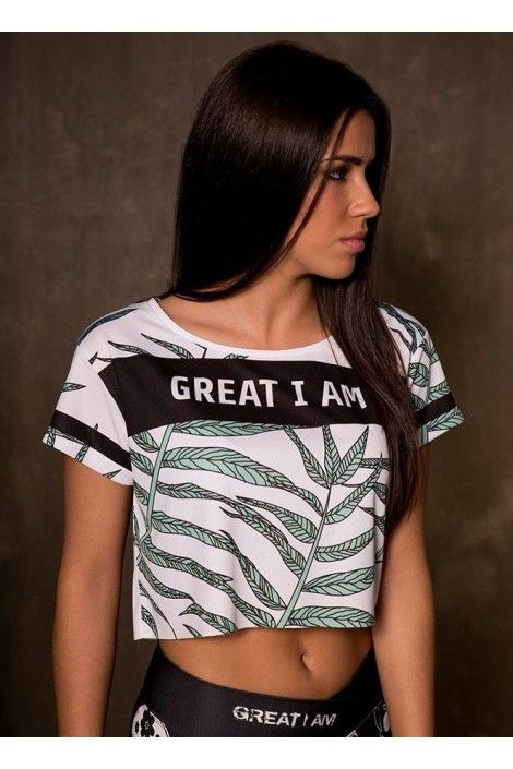 CROPTOP GREAT I AM LEAVES