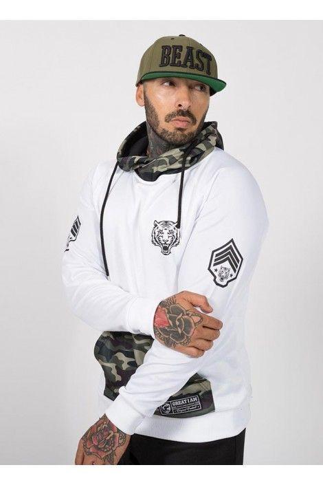 Hoodie Military Blanca
