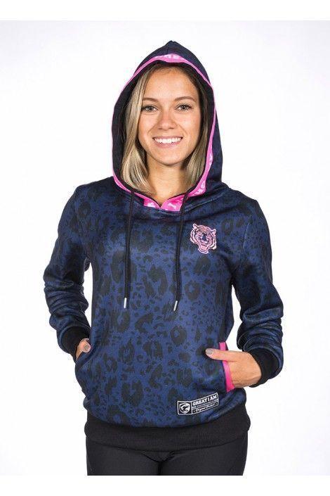 Hoodie Leopard Azul
