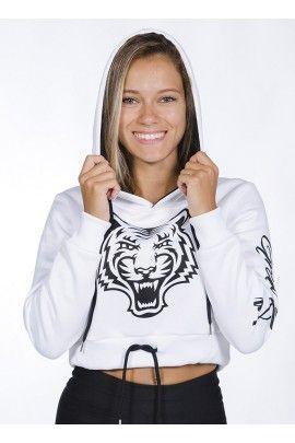 Hoodie Corta Tiger Blanca
