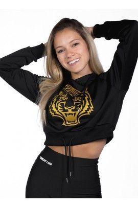 Hoodie Corta Tiger Negra